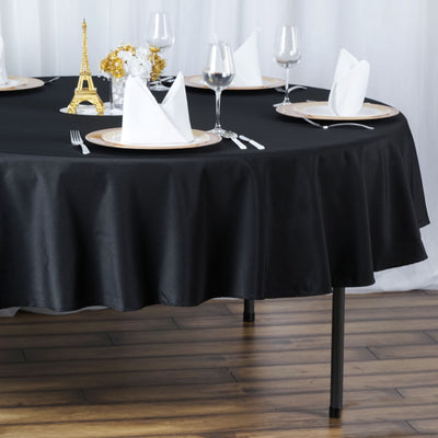 "90"" Seamless Premium Polyester Round Tablecloth - Black"