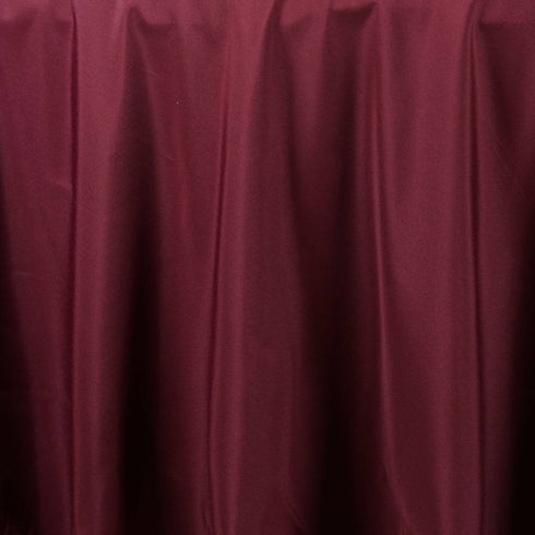 "90"" BURGUNDY Wholesale Polyester Round Tablecloth For Wedding Banquet Restaurant"