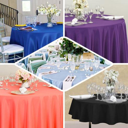 "90"" Eggplant Polyester Round Tablecloth"