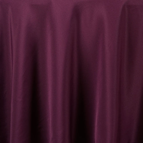 "90"" EGGPLANT Wholesale Polyester Round Tablecloth For Wedding Banquet Restaurant"