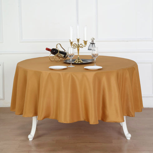 "90"" Gold Polyester Round Tablecloth"