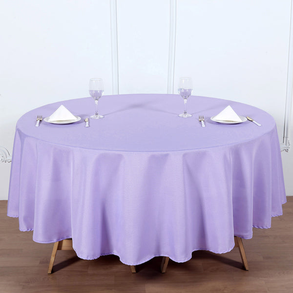 "90"" Lavender Polyester Round Tablecloth"