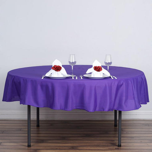 "90"" Polyester Round Tablecloth - Purple"