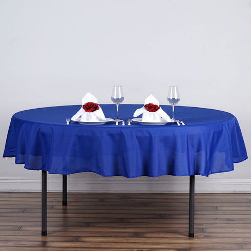 "90"" Polyester Round Tablecloth - Royal Blue"