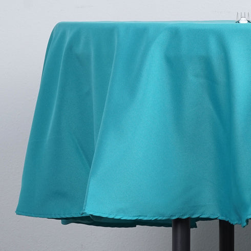 "90"" Polyester Round Tablecloth - Turquoise"