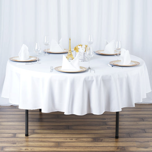 "90"" White Seamless Premium Polyester Round Tablecloth"