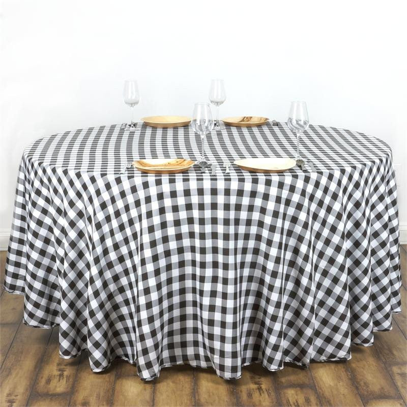 "108"" Round WHITE / BLACK Checkered Wholesale Gingham Polyester Linen Picnic Restaurant Dinner Tablecloth"