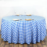 "108"" Round WHITE / BLUE Checkered Wholesale Gingham Polyester Linen Picnic Restaurant Dinner Tablecloth"