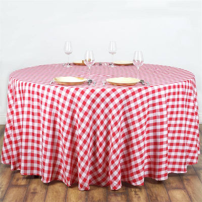 108 Whitered Round Checkered Gingham Polyester Picnic Tablecloth