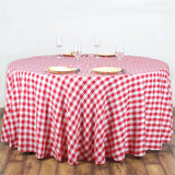 "108"" Round WHITE / RED Checkered Wholesale Gingham Polyester Linen Picnic Restaurant Dinner Tablecloth"
