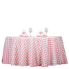 Buffalo Plaid Tablecloth | 120 Round | White/Rose Quartz | Checkered Gingham Polyester Tablecloth