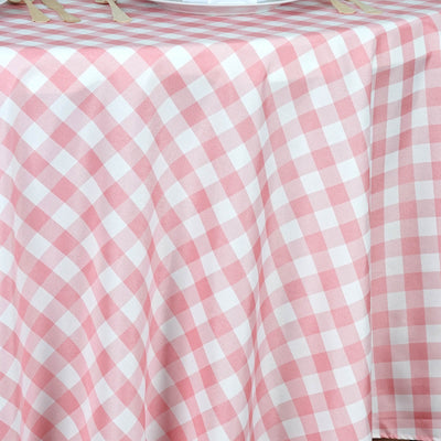 "120"" White/Rose Quartz Round Checkered Gingham Polyester Tablecloth"