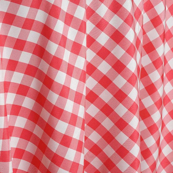 120 Quot White Coral Round Checkered Gingham Polyester Picnic