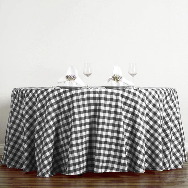 Buffalo Plaid Tablecloth | 120 Round | White/Black | Checkered Gingham Polyester Tablecloth