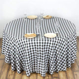 "Perfect Picnic Inspired Checkered 120"" Round Polyester Tablecloths White / Black"
