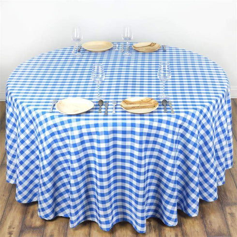 Round Checkered Gingham Polyester Picnic Tablecloth | White/Blue | Table Linens | 120""