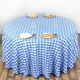 "Perfect Picnic Inspired Checkered 120"" Round Polyester Tablecloths White / Blue"