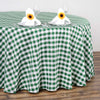 Buffalo Plaid Tablecloths | 120 Round | White/Green | Checkered Gingham Polyester Tablecloth