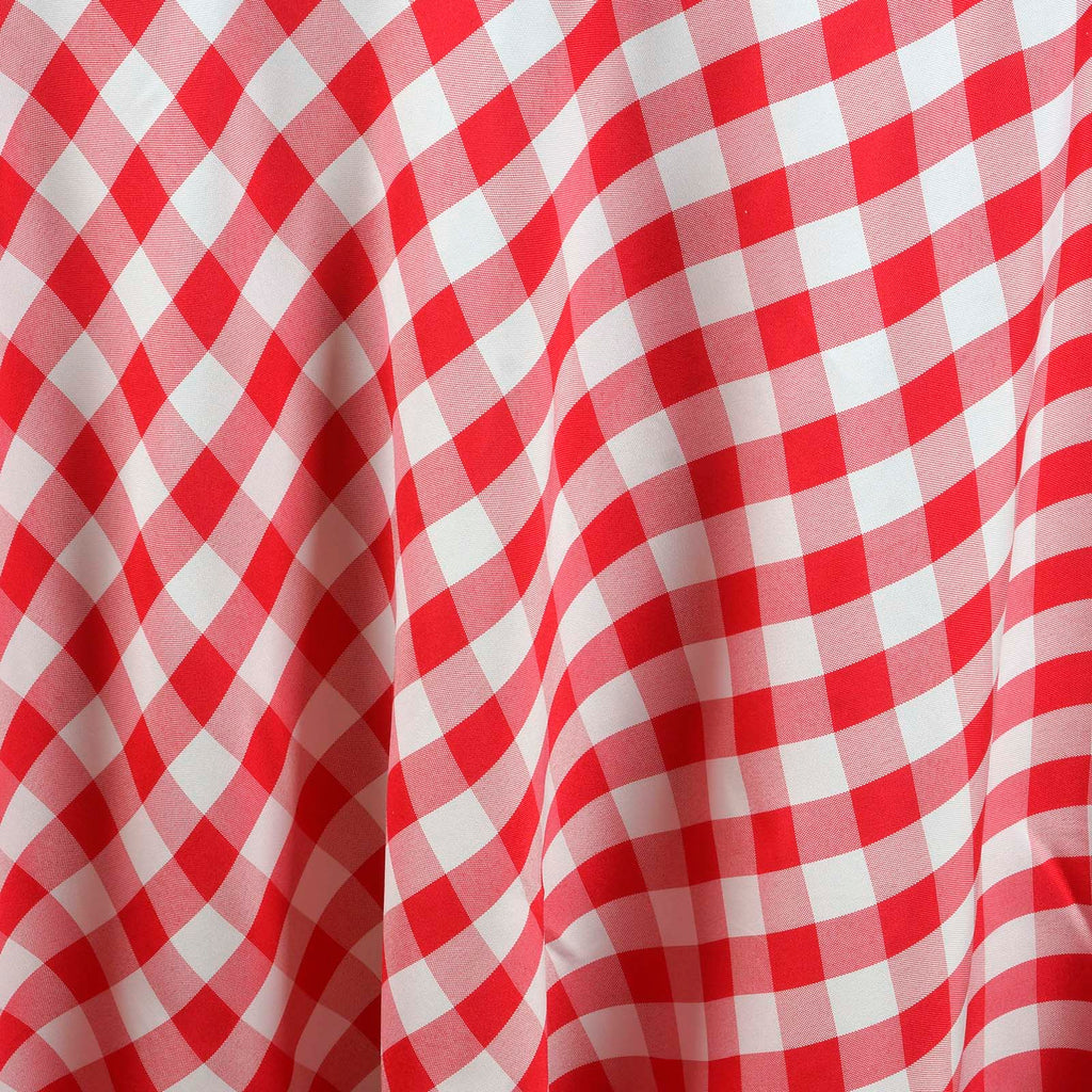 "Perfect Picnic Inspired Checkered 120"" Round Polyester Tablecloths White / Red"