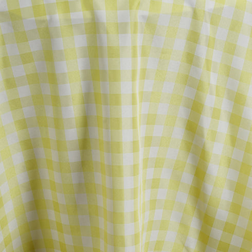 Buffalo Plaid Tablecloths | 120 inch Round | White/Yellow | Checkered Gingham Polyester Tablecloth