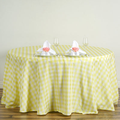 "120"" White/Yellow Round Checkered Gingham Polyester Picnic Tablecloth"