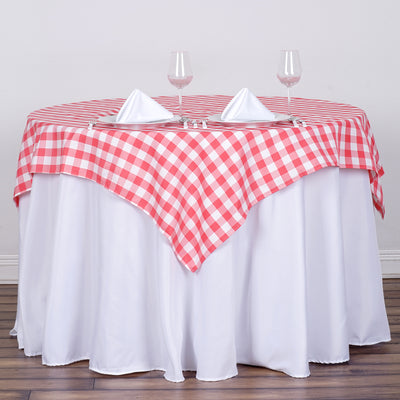 "54""x54"" Checkered Gingham Polyester Picnic Square Tablecloth - White/Coral"