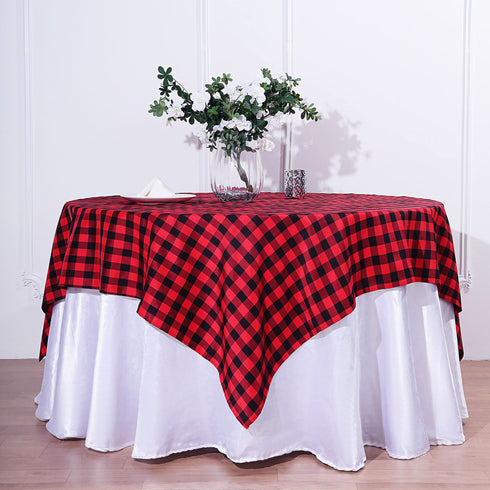 Buffalo Plaid Tablecloth | 54x54 Square | Black/Red | Checkered Gingham Polyester Tablecloth