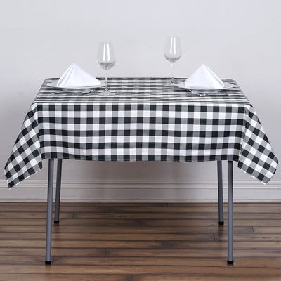 "54""x54"" Checkered Gingham Polyester Picnic Square Tablecloth - White/Black"
