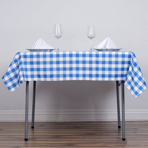 "54"" Square WHITE / BLUE Checkered Wholesale Gingham Polyester Linen Picnic Restaurant Dinner Tablecloth"