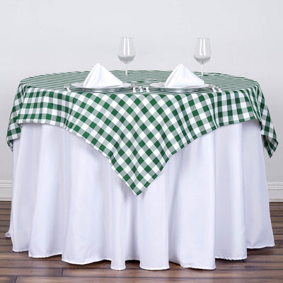 "54""x54"" Checkered Gingham Polyester Picnic Square Tablecloth - White/Green"