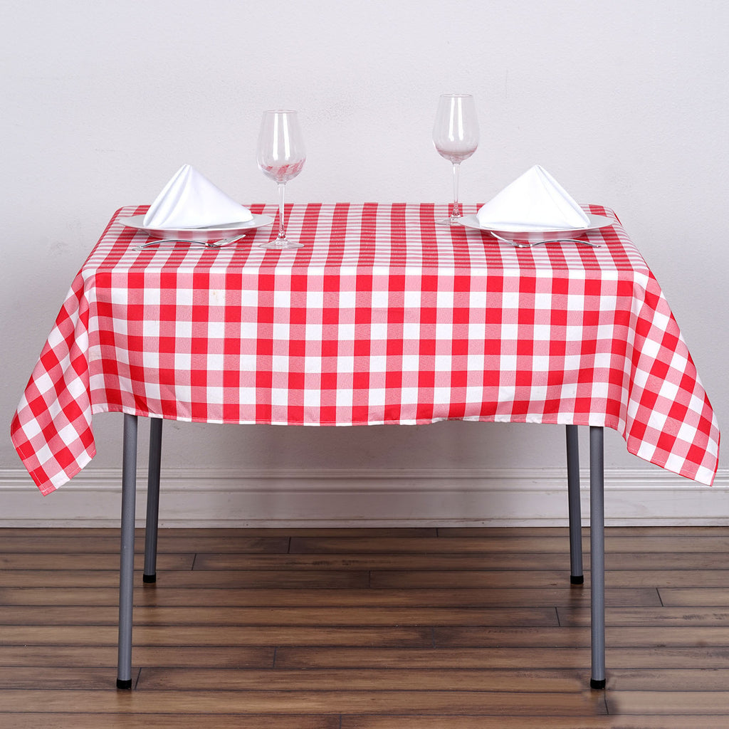 "54"" Square WHITE / RED Checkered Wholesale Gingham Polyester Linen Picnic Restaurant Dinner Tablecloth"