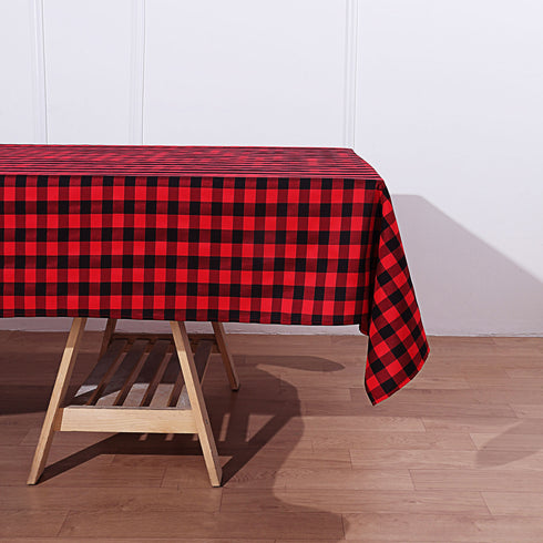 Buffalo Plaid Tablecloth | 60x102 Rectangular | Black/Red | Checkered Polyester Linen Tablecloth