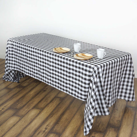 "60x102"" White/Black Perfect Picnic Inspired Checkered Polyester Tablecloths"