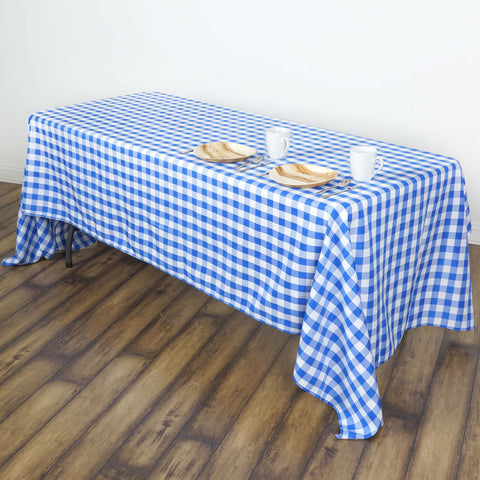 "60x102"" White/Blue Perfect Picnic Inspired Checkered Polyester Tablecloths"
