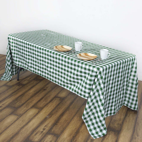 "60x102"" White/Green Perfect Picnic Inspired Checkered Polyester Tablecloths"