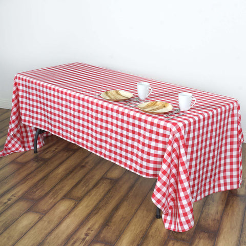 "Perfect Picnic Inspired Checkered 60x102"" Polyester Tablecloths White/Red( Sold Out until 2017-04-01)"