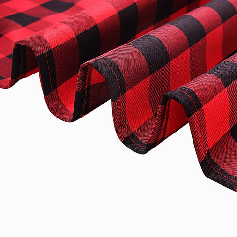 Buffalo Plaid Tablecloth | 60x126 Rectangular | Black/Red | Checkered Polyester Tablecloth