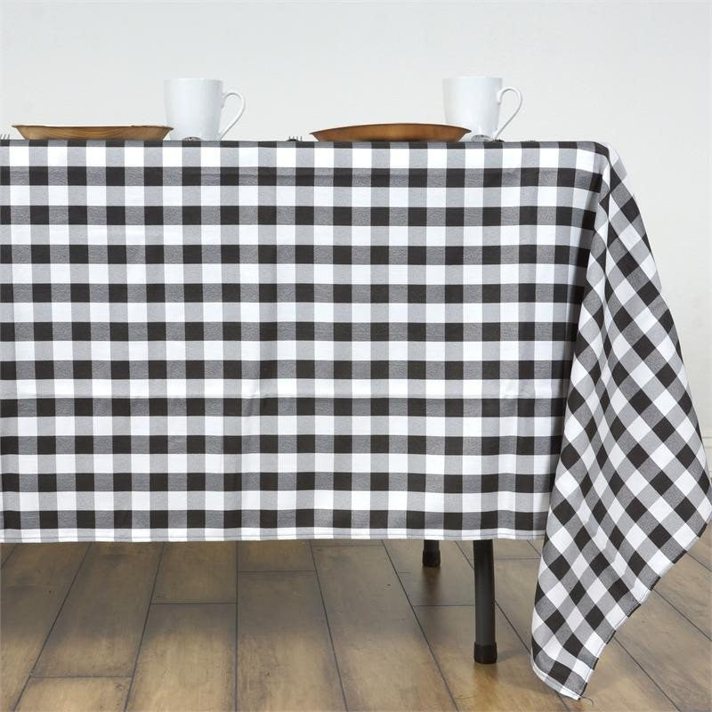 "Perfect Picnic Inspired Checkered 60x126"" Polyester Tablecloths White / Black"