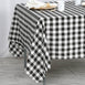 "70"" Square Black & White Checkered Wholesale Gingham Polyester Linen Picnic Restaurant Dinner Tablecloth"