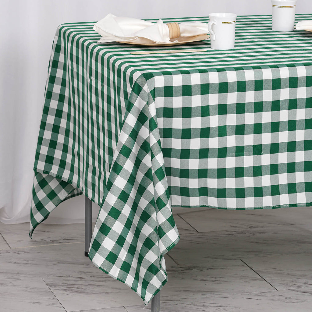 "70"" Square Green & White Checkered Wholesale Gingham Polyester Linen Picnic Restaurant Dinner Tablecloth"