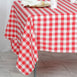 "70"" Square Red & White Checkered Wholesale Gingham Polyester Linen Picnic Restaurant Dinner Tablecloth"