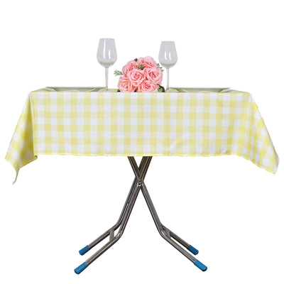 "70""x70"" White/Yellow Checkered Gingham Polyester Square Tablecloth"