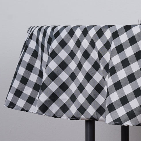 "70"" Checkered Gingham Polyester Picnic Round Tablecloth - White/Black"