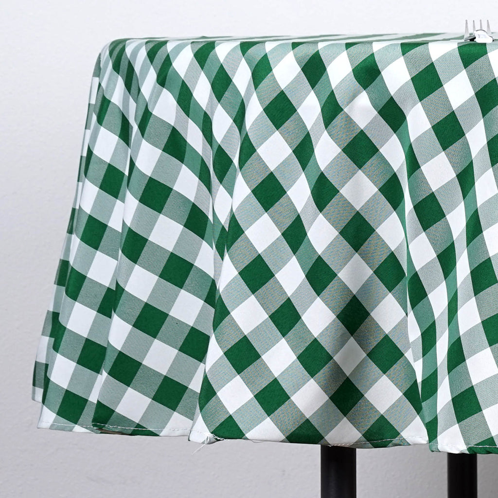 Sage Green White Fabric Tablecloth 70 Round Gingham Checkered Design