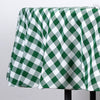 "70"" Checkered Gingham Polyester Picnic Round Tablecloth - White/Green"