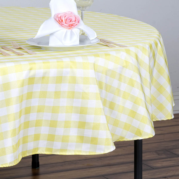 70 Quot Checkered Gingham Polyester Picnic Round Tablecloth