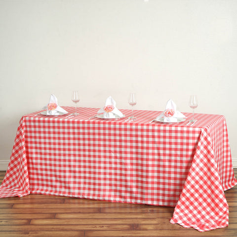 "Perfect Picnic Inspired Checkered 90""x132"" Polyester Tablecloths White/Coral"