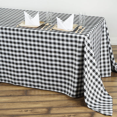 "90""x132"" Checkered Polyester Rectangular Linen Home Picnic Tablecloth - White/Black"