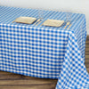 "90""x132"" White/Blue Checkered Polyester Rectangular Linen Tablecloth"