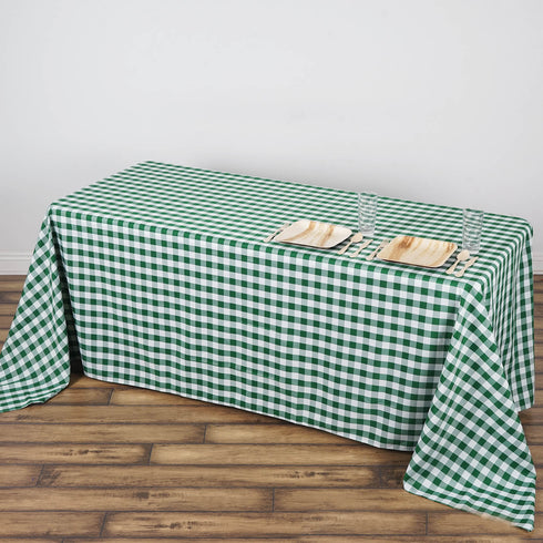 "90x132"" White/Green Perfect Picnic Inspired Checkered Polyester Tablecloths"